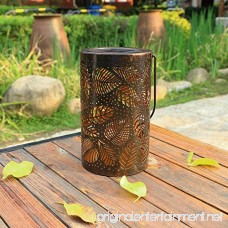 TAKE ME Solar Lantern Lights Outdoor Garden Hanging Lights Metal Leaf Pattern Lights Lamp for Patio Outside Or Table (Leaf.) - B07CHH73HP