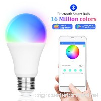 iLintek Smart LED Light Bulb Multicolored Dimmable Bluetooth App Group Controlled Party Disco Color Changing 9W-Equivalent 60w 2700K-6500K Color No Hub required Sunrise Wake Up Night Light(A19) - B078BPCFSY