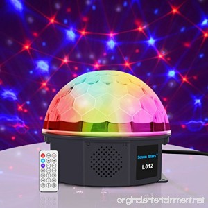 LED Crystal Magic Ball Party Light Christmas Decoration Lights 6 Colors Stage Effect Lighting 15W with Sound Activated Light with Remote Control MP3 Play and USB for Disco Xmas KTV Club Pub Show - B078K5STMP