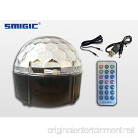 SMIGIC 9 Color Stage Lights LED DJ Disco Lights Party Rotating Crystal Magic Ball Lights Sound Activated Strobe Light with Remote Control MP3 Play for Party X-MAX activity KTV Club Pub Show (Black) - B071S9DR4T