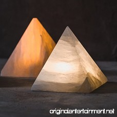 KUNGKEN Natural Selenite Crystal LED Night Light Wireless Pyramid Shaped Hand Carved Mineral Lamp Battery-Operated Creative Table Lamp Romantic Bedside Light Pure White - B079VJ8CX9