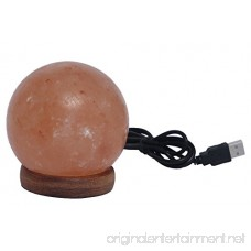 Magic Salt USB Natural Himalayan Round Shape Salt Lamp - Pink Hand Carved Glow Rock Lamps with Wood Base Included USB Electric Wire Salt lamp Authentic - B07D322GR4