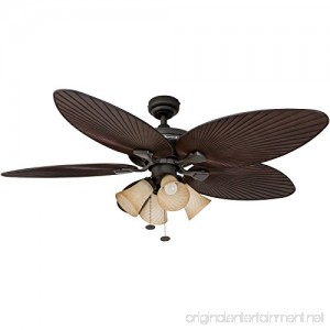 Honeywell Palm Island 52-Inch Tropical Ceiling Fan with 4 Sunset Shade Lights Five Palm Leaf Blades Indoor/Outdoor Oil-Rubbed Bronze - B00KGKEXWU