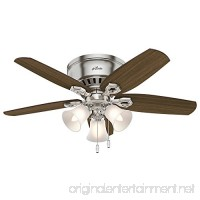 "Hunter 51092 42"" Builder Low Profile Ceiling Fan with Light  Brushed Nickel - B01CDGC6EG"