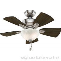 "Hunter 52092 Watson Ceiling Fan with Light  34""/Small  Brushed Nickel - B01C2A1AMW"