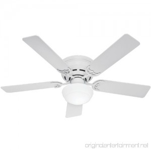 Hunter 53075 Low Profile lll Plus 52-Inch Five Blade Single Light Ceiling Fan with White Blades and Frosted Glass Globe White - B00CG6YV0G