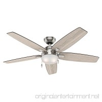 Hunter 59183 Antero 54 in LED Indoor Brushed Nickel Ceiling Fan with Light - B074JVF7G9