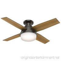 Hunter 59445 Dempsey Low Profile with Light 44 Ceiling Fan Handheld Remote Small Noble Bronze - B076FF4HKM