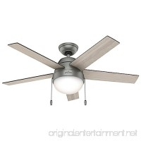 "Hunter Fan Company 59267 Contemporary Anslee Matte Silver Ceiling Fan with Light  46"" - B01CDG0ZFI"