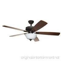 Hyperikon 52 Inch Ceiling Fan with Remote Control  Brown Ceiling Fan Indoor  Five Reversible Blades and Frosted Dome Light - Bulb Not Included - B06XKFTL9V