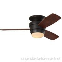 Mazon 44-in Oil-Rubbed bronze Integrated LED Indoor Flush Mount Ceiling Fan with Light Kit and Remote (3-Blade) - B075NPL19X