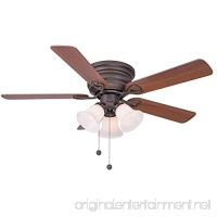 Clarkston 44 In. Oiled Rubbed Bronze Ceiling Fan with Light Kit - B0182WK1KG