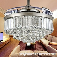 Huston Fan 42-Inch Decorative Ceiling Fan Remote Control Ceiling Fan Crystal Ceiling Fan With Retractable Blades Bedroom Chandelier Living Room Ceiling Light (42 inch  Silver6) - B078LVTJ67