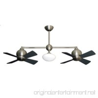 Metropolitan Modern Double Ceiling Fan in Satin Nickel with Light & Remote - B00AEWUYOG