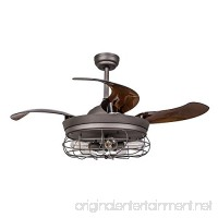 Parrot Uncle Ceiling Fans with Light 42 inches Vintage Farmhouse Fan Industrial Chandelier Fans with Retractable Baldes Remote Control 5-Light Antique Grey - B078JF8PDR