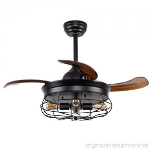 Parrot Uncle Ceiling Fans with Lights 36'' Vintage Farmhouse Fan Industrial Chandelier Fans with Retractable Blades Remote Control 4 Edison Bulbs Needed Black Painted Finished - B07799QWNN