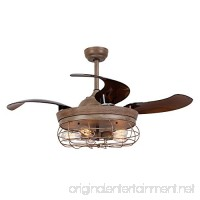 Parrot Uncle Ceiling Fans with Lights 42'' Vintage Farmhouse Fan Industrial Chandelier Fans with Retractable Blades  Remote Control  5 Edison Bulbs Needed  Weathered Oak Wood - B077FJBY65